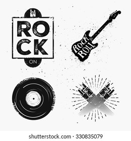 Set of rock and roll music signs, elements, labels. Music theme. Template for poster, cafe, banner or your art works.