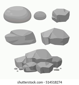 Set of Rock Stone with Different Shape.Flat vector Illustration.