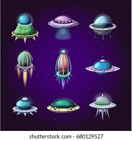 Set of rockets and alien spaceships. cartoon flight unidentified disk or aircraft, isolated flying ufo technology for traveling trough universe, astronaut vessel. Astronomy and cosmos, cosmic theme