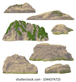Set of rocks, hills and stones isolated on white background. Nature landscape design elements. Vector flat illustration.