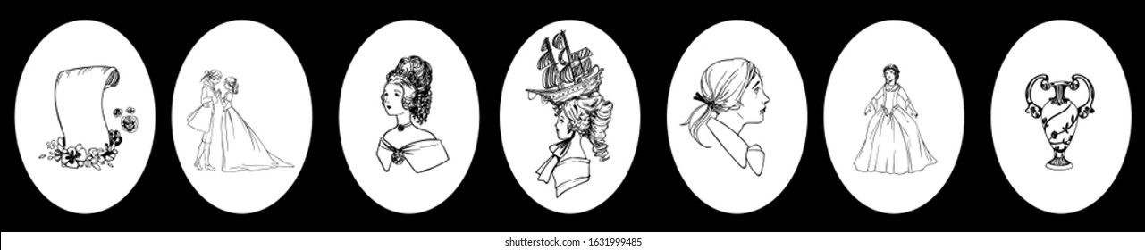 Set of rococo/baroque style vector illustrations of women with high and crazy hair, a romantic couple and deco objects