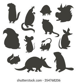 Set of rodent  gray silhouettes. Vector illustration, isolated on a white background. Beaver, weasel, squirrel, muskrat, tarbaganchik, muskrat, Battleship, bandicoot