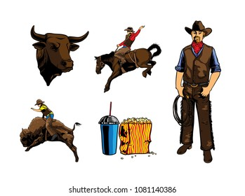 set rodeo with cowboy, bull head, popcorn and soda, cowboy riding a horse and bull illustration with colour
