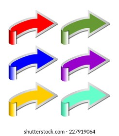 A set of rolled arrows in six color variants for graphic presentation