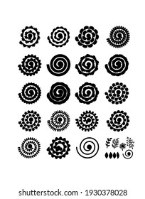 Set of rolled flowers, leaves. Collection rolled paper flower. Black color. Vector silhouettes for scrapbooking, crafting. Home decor, greeting card. Plotter cutting for paper. Cut file