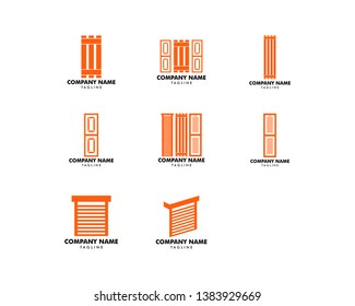 Set of Roller Shutter Door Logo Icon Template