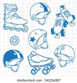 set of roller skates helmets wheel