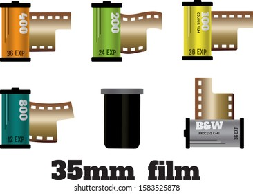 A set of rolls of 35mm film and one canister