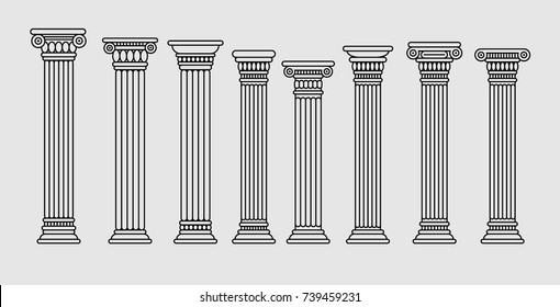Set of roman and greek stylized classic columns. Ancient. Black color contour. Vector illustration, isolated.