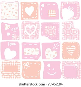 Set of romantic banners and frames
