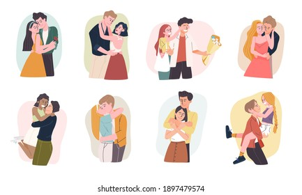 Set of romantic cartoon couple characters  in various gestures isolated on white background.