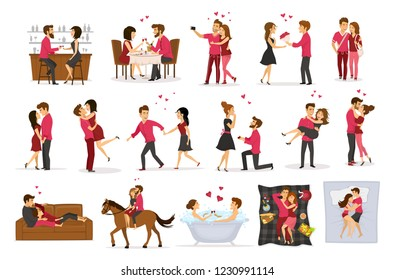 Set of romantic couple. Married couple set. Boyfriend & girlfriend vector set.