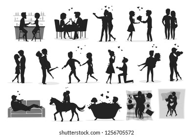 Set of romantic couple silhouette. Married couple set silhouette. Boyfriend & girlfriend vector set silhouette.