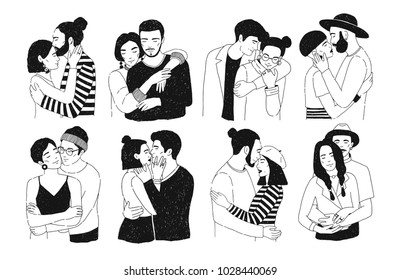 Set of romantic couples isolated on white background. Bundle of portraits  trendy guys and girls in love hugging, cuddling and kissing. Hand drawn, black and white vector illustration.