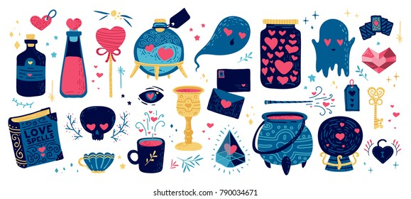 Set romantic element for happy valentine's day. Illustration with magic symbol for love invitation, card and print on t-shirt. Design cute wizard skull, love drink and battle potion with heart.