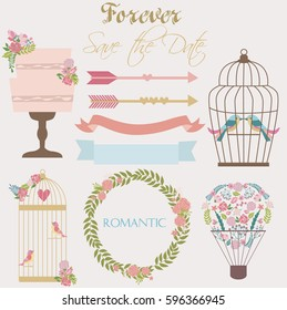 Set of romantic elements for birthday card, wedding invitation, greeting card. Vector illustration