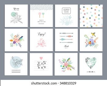 Set of romantic floral cards. Wedding, anniversary, birthday, Valentin's day, party invitations. Vector. Isolated.