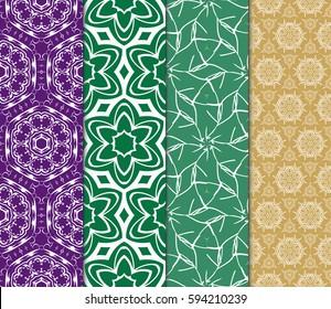 set of romantic geometric floral seamless pattern. Vector illustration. For modern interior design, fashion textile print, wallpaper,
