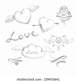 Set of romantic hand drawn sketches for your design