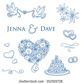 Set of romantic love ornaments for valentine, engagement, wedding invitation, save the date card. With flowers, hearts, swifts, lines, typographic elements. Hand drawn vector illustration