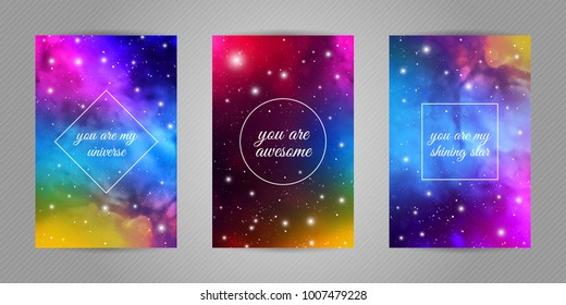 "Set of romantic postcards with cosmos and stars background and words ""You are my universe, you are my shining star, you are awesome""."
