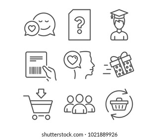 Set of Romantic talk, Online market and Group icons. Dating, Parcel invoice and Student signs. Unknown file, Present delivery and Refresh cart symbols. Love chat, Shopping cart, Group of users