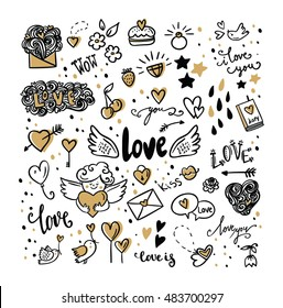 Set Of Romantic Vector Icon In Doodle Design Lettering Cupid Birds Hearts