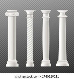 Set of Rome or Greece antique classic columns or pillars, realistic vector mockup illustration isolated on transparent background. Ancient architecture building element.