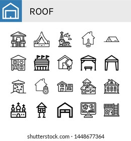 Set of roof icons such as Garage, Hut, Tent, Church, House, Home, Stadium, Pergola, Canopy, Izba, Wooden house , roof
