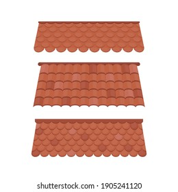 Set of Roofs for the design of summer cottages. Brown tile roof isolated on white background. Vector illustration.