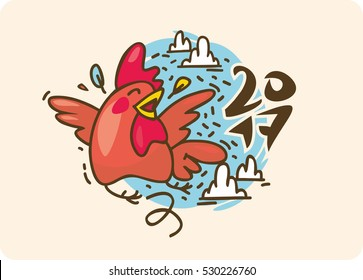 Set of roosters, symbol 2017 on Chinese calendar. Red cock.Cartoon crowing chicken bird. Vector New Year elements to design a calendar, postcards, flyers and other Christmas products.