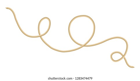 Set of rope border. Sailor tying the knot and cord swirl. Isolated on white background. Graphic design vector element for wedding invitations, baby shower, birthday card, scrapbooking etc