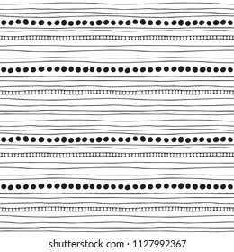 Set of rope and chain brushes. Seamless pattern with rope, dots and chain stripes isolated on transparent background. Vector. Fancy hand drawn casual texture.