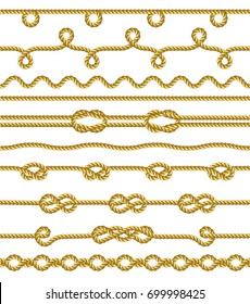 Set of Rope and knots. Decorative elements. Vector illustration collection.