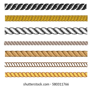 Set of rope vector, can be use as a brush stroke