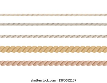 Set of ropes. Different nautical cords isolated on white background. Sailing vector decoration elements.Vector illustration of marine string  in cartoon flat style.