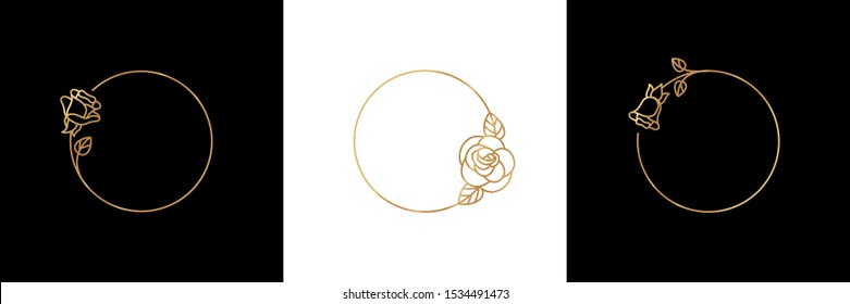 Set Rose Flower gold frame badge and icon in trendy linear style. Vector Logo Emblem of Rosebud. Can be Used Template for packing cosmetics, beauty Studio, hairdresser, nail Studio, Spa.