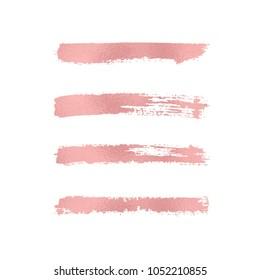 Set Rose foil texture brush stroke. Smudge glitter pink, sparkle glossy paint on the white background. Vector illustration
