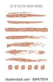 Set of rose gold glitter brush strokes. Vector illustration.