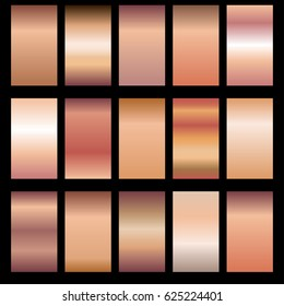Set of rose gold gradients. Collection of colored shiny textures. Vector illustration.