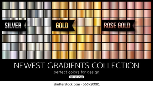 Set of rose gold silver gradients, texture. Vector illustration