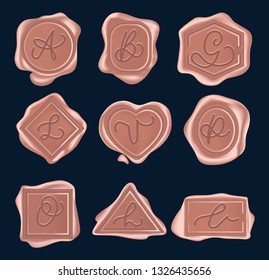 Set of rose gold wax seal stamps set with hand lettered signs. Vector vintage wax stamps isolated on navy blue background.