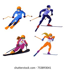 set ross country skiing boy and girl  isolated on white, vector skiing sportsman vector alpine skiing man with ski in sportive flat cartoon skiing woman winter sport competition winter games
