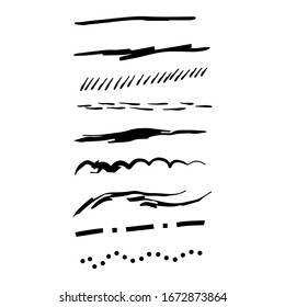 Set of rough handmade, hand drawn underline strokes isolated on white background EPS Vector
