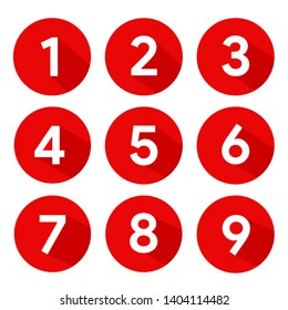 Set of Round 1-9 Numbers Icon Vector for Education and UI/UX Design
