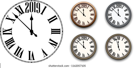 Set of round 2019 New Year clock isolated on white background. Flat and 3d templates for Christmas greeting card design and decoration. Vector illustration.