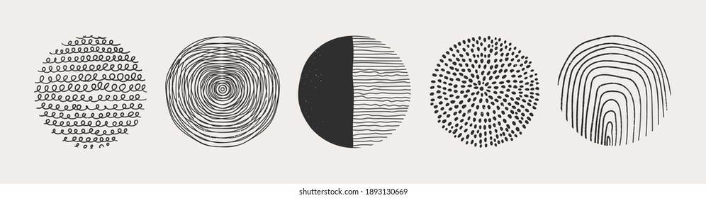 Set of round Abstract Backgrounds or Patterns. Hand drawn doodle shapes. Spots, drops, curves, Lines. Contemporary modern trendy Vector illustration. Posters, Social media Icons templates