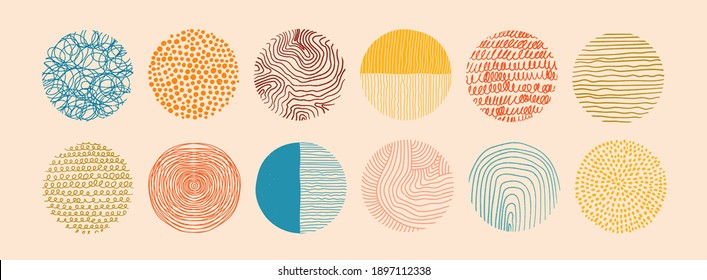 Set of round Abstract colorful Backgrounds or Patterns. Hand drawn doodle shapes. Spots, drops, curves, Lines. Contemporary modern trendy Vector illustration. Posters, Social media Icons templates