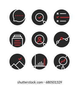 set of round assessment and report logo. concept of seo monitoring, job recruitment, company process. outline flat trend modern logotype or graphic art design illustration isolated on white background