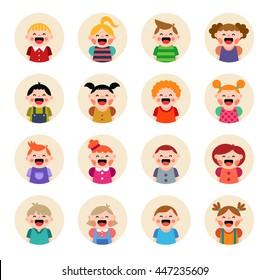 Set of round avatars isolated on white background